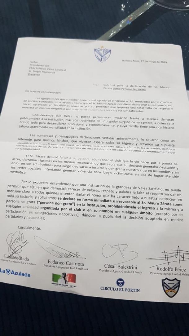 El documento y las distintas agrupaciones implicadas. Foto: Twitter.