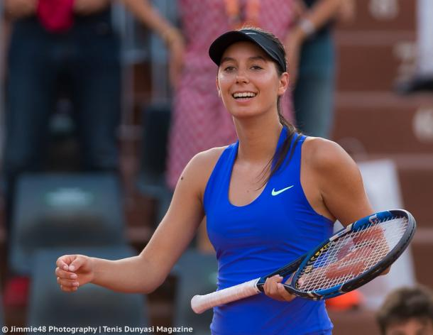 Oceane Dodin was pleased with her win over Giorgi on Monday | Photo: Jimmie48 Tennis Photography