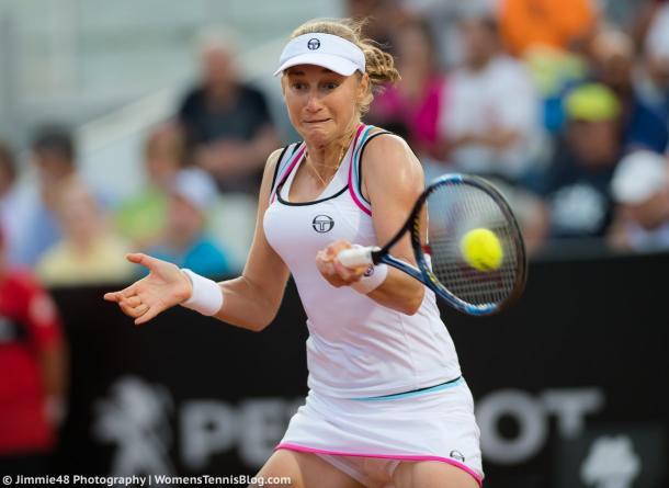 Ekaterina Makarova hits a forehand in Rome two weeks ago | Photo: Jimmie48 Tennis Photography