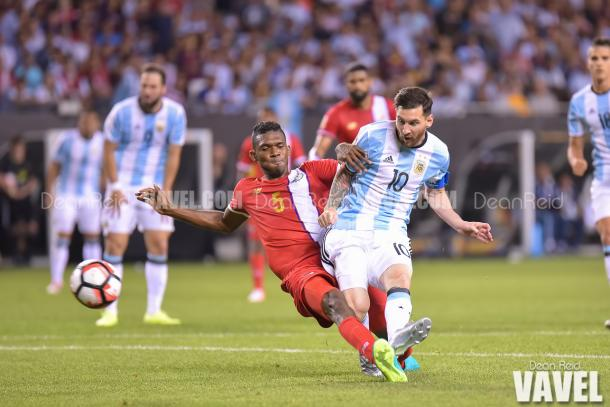 Argentina's Lionel Messi (Right) scoring one of his three gaols against Panama. Photo provided by VAVEL USA,