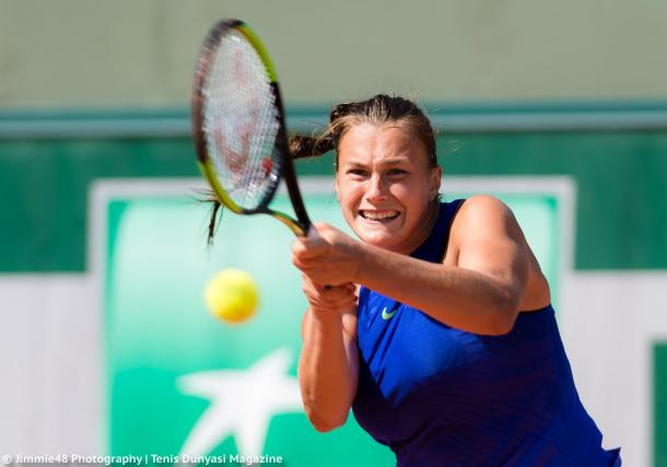 Aryna Sabalenka in action during her qualifying match at Roland Garros | Photo: Jimmie48 Tennis Photography
