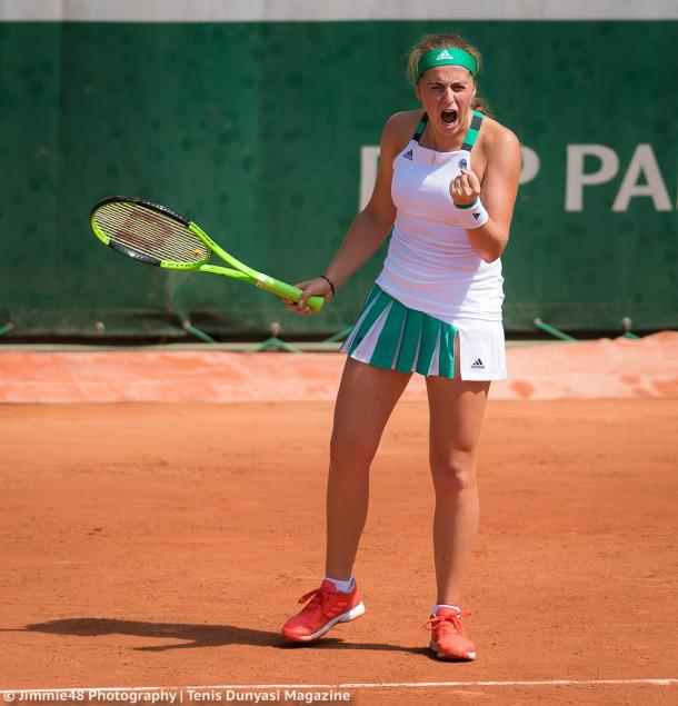 Jelena Ostapenko celebrates winning the match | Photo: Jimmie48 Tennis Photography