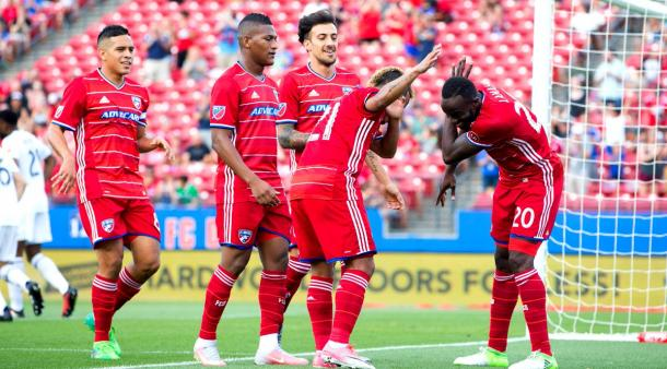 Roland Lamah celebrates one of his goals with Michael Barrios | Source: Tim Heitman-USA TODAY Sports