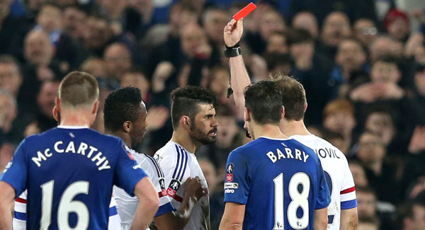 Costa was far from pleased when he was sent off. | Image source: Waterford News
