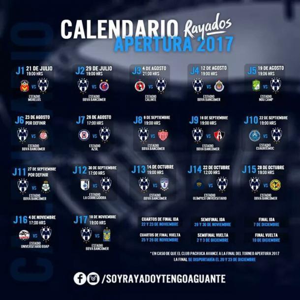 Calendario Apertura 2017 Rayados |  Foto: Soy Rayado y tengo Aguante /  Fan Page Facebook