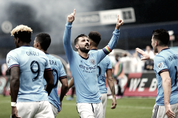 David Villa celebrates his second goal of the match vs Seattle. | Photo: Major League Soccer