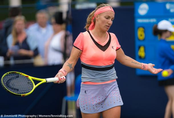 Svetlana Kuznetsova feels frustrated with herself after a bad point | Photo: Jimmie48 Tennis Photography