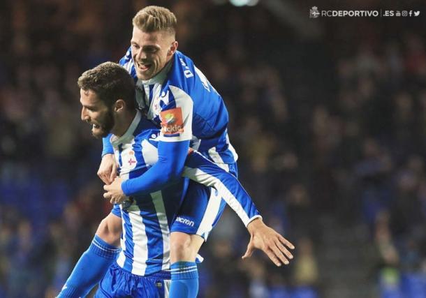 Celebración del primer gol del Deportivo de La Coruña. | Imagen: Real Club Deportivo de La Coruña.