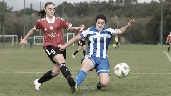 Disputa de un balón en el encuentro entre el Deportivo Abanca B y el Victoria. Foto: rcdeportivo.es