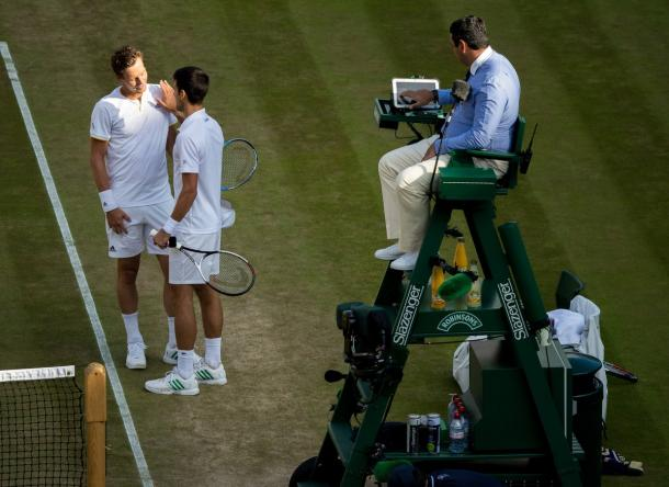 Berdych - Djokovic - Fonte: @Wimbledon / Twitter