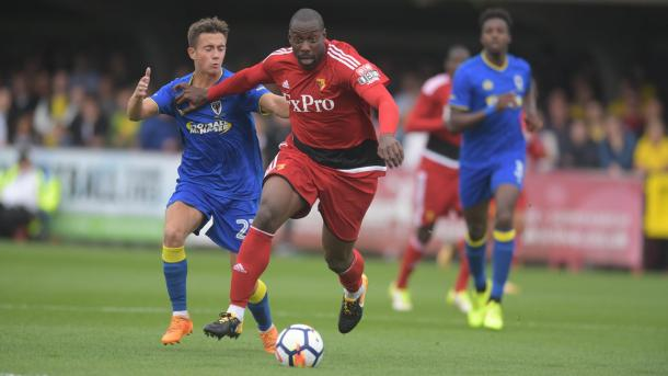 Stefano Okaka was leading the line in the game (Photo: Watford FC/ Twitter)