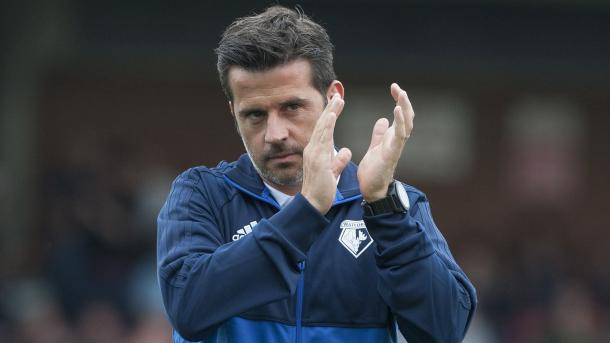 Marco Silva applauds the travelling supporters (Photo: Watford FC/ Twitter)