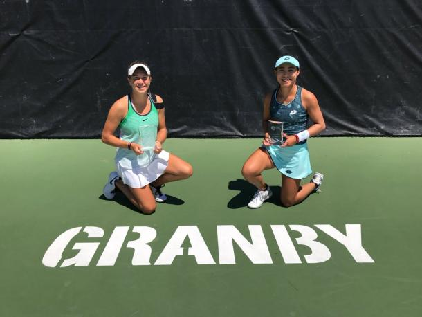 Ellen Perez and Carol Zhao pose with their respective trophies after winning the 2017 Challenger Banque Nationale De Granby doubles title. | Photo via Perez's official Twitter