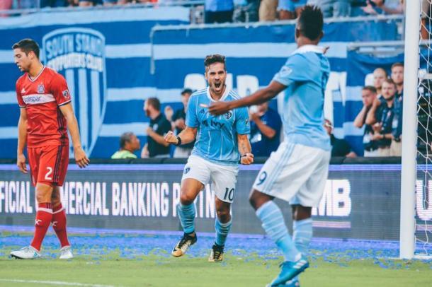 Feilhaber celebrando el gol. // Imagen: Sporting Kansas City