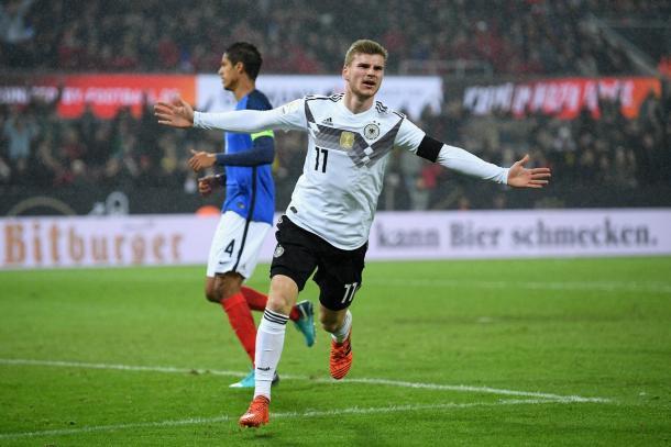 L'esultanza dopo la rete di Timo Werner | Twitter @DFB_Team_En