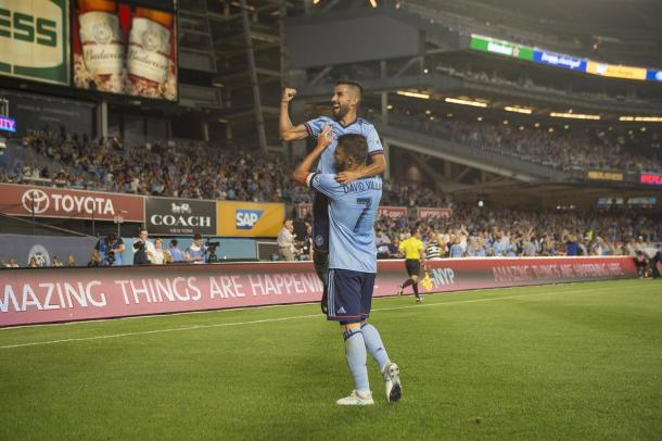 Maxi Morález and David Villa celebrate giving their team the lead | Source: nycfc.com