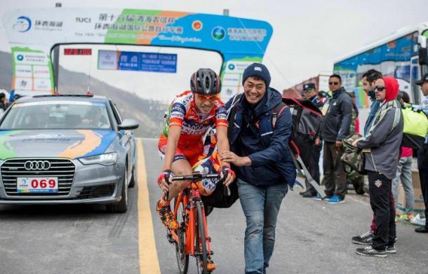 L'ultima vittoria di Cunego, lo scorso Luglio al Tour of Qinghai Lake | Twitter ACCPI