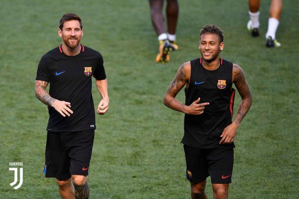 Messi e Neymar durante la rifinitura alla Red Bull Arena. Foto: Twitter