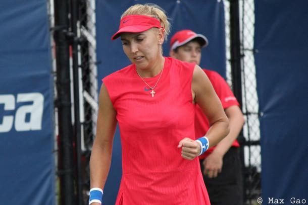 Elena Vesnina celebrates winning a point | Photo: Max Gao / VAVEL USA Tennis