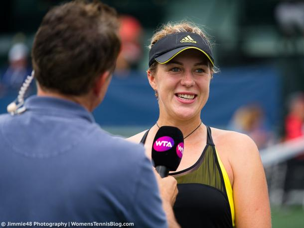 Anastasia Pavlyuchenkova was all smiles during her on-court interview after the impressive win | Photo: Jimmie48 Tennis Photography