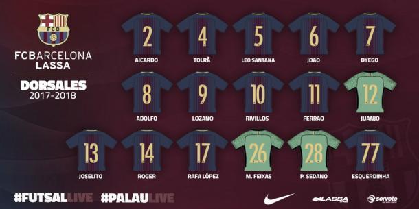 Todos los dorsales 17/18 del FC Barcelona | Foto: @FCBFutbolSala