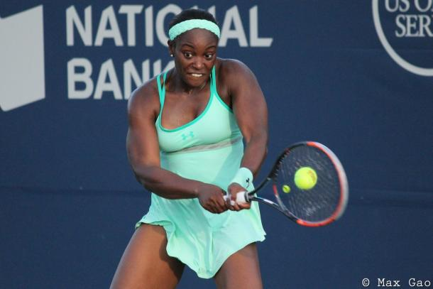 Sloane Stephens in action during her first round match | Photo: Max Gao / VAVEL USA Tennis