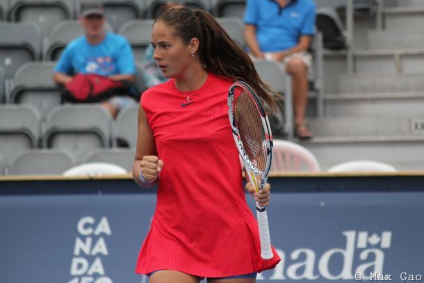 Daria Kasatkina celebrates winning a point | Photo: Max Gao / VAVEL USA Tennis