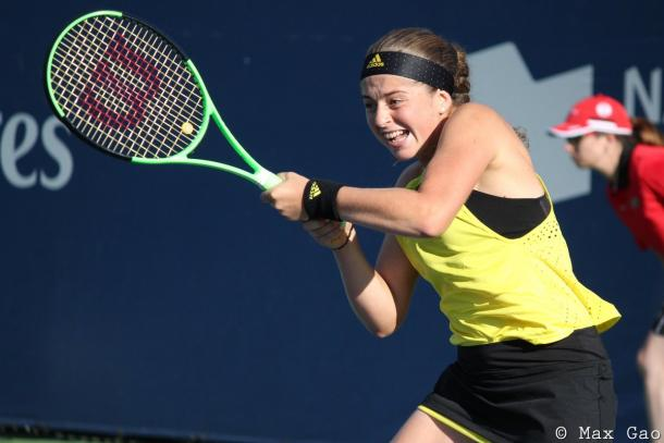 Jelena Ostapenko in action during the match | Photo: Max Gao / VAVEL USA Tennis