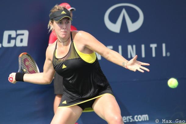 Anastasia Pavlyuchenkova hits a forehand | Photo: Max Gao / VAVEL USA Tennis