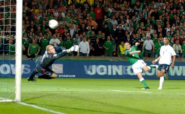 One of the most famous moments in Northern Ireland's football history. | Image source: Belfast Telegraph