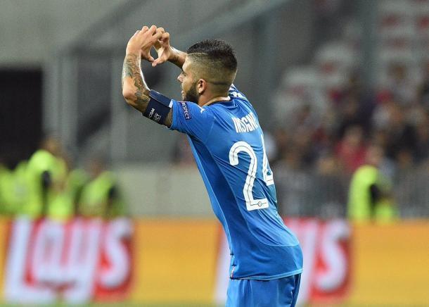 Insigne celebra su gol ante el OGC Nice. / Foto: sscnapoli.it