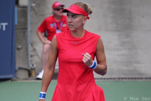 Elena Vesnina celebrates winning a point at the Western and Southern Open | Photo: Max Gao / VAVEL USA Tennis