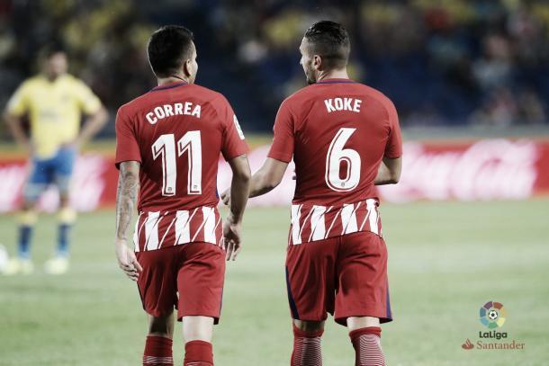 Correa e Koke, destaques da partida contra o Las Palmas | Foto: Divulgação/La Liga