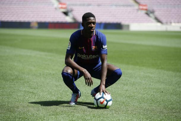 Dembélé é apresentado aos torcedores | Foto: Divulgação/FC Barcelona