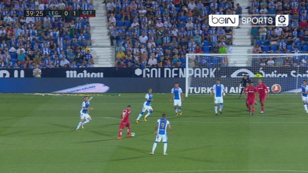 Arambarri en el momento del gol. / Foto: BeIN Sports España