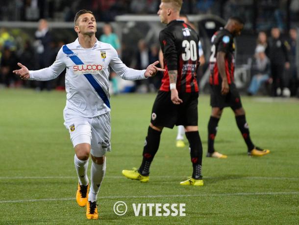 El Vitesse celebra un gol en la Eredivisie   Foto; Vitesse