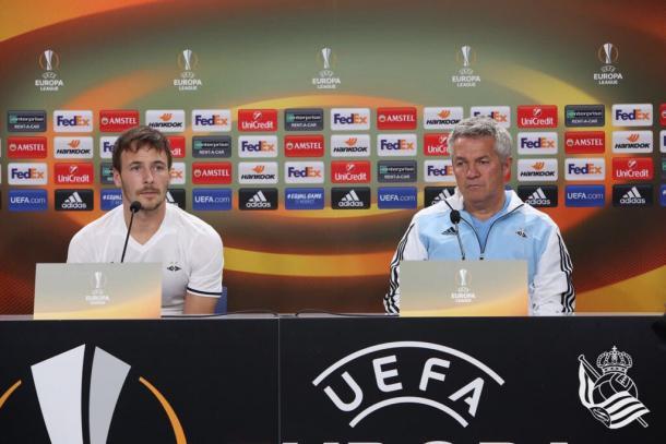 Kåre Ingebrigtsen y Mike Jensen, en rueda de prensa | Imagen: Real Sociedad
