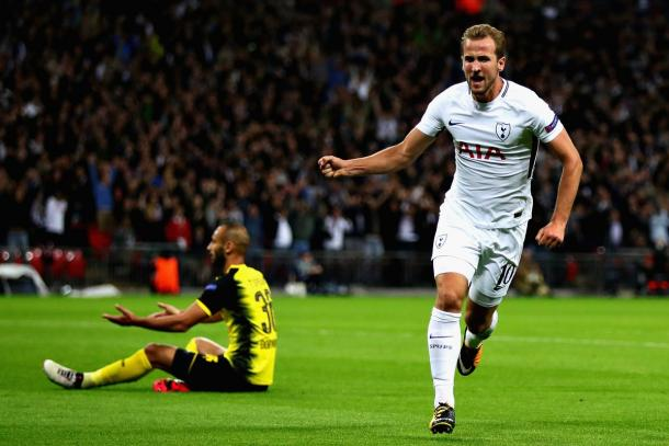 Kane festejó ante Dortmund en la primera ronda de la fase de grupos | Foto: Tottenham.