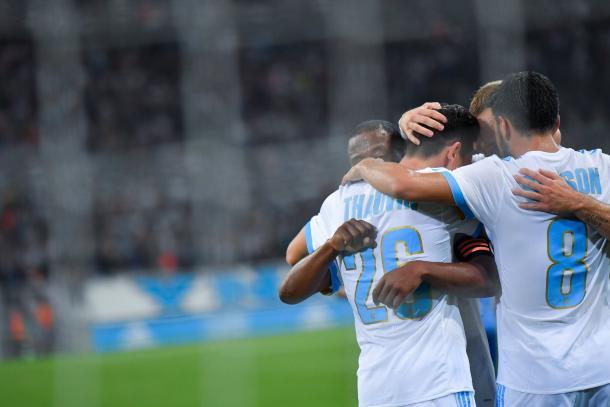 L'esultanza del Marsiglia dopo il gol del vantaggio | Twitter @OM_Officiel