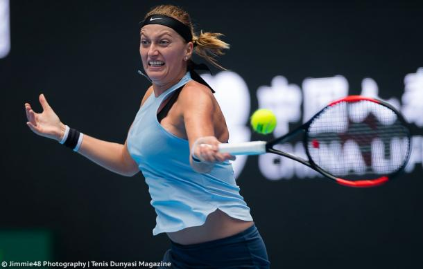 Petra Kvitova hits a forehand | Photo: Jimmie48 Tennis Photography