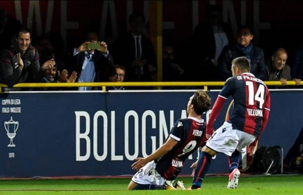 Verdi celebra su gol esta noche. / Foto: bolognafc.it