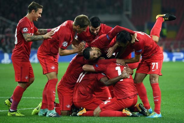  L'esultanza dello Spartak per il vantaggio. | Fonte TwitterL'esultanza dello Spartak per il vantaggio. | Fonte Twitter