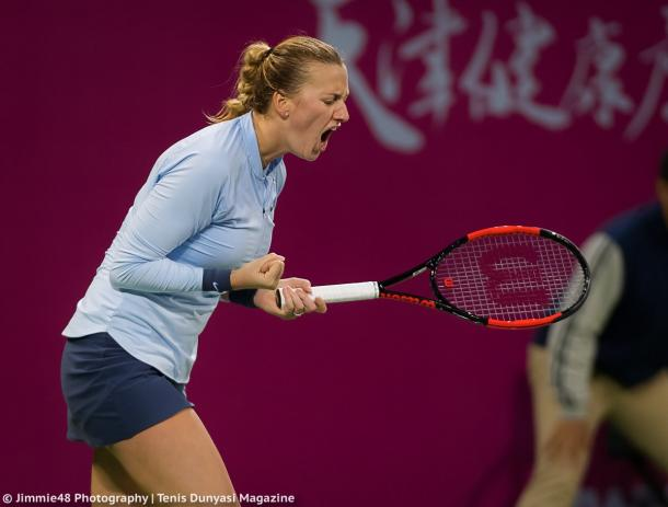 The fighting spirit of Kvitova was evident today, despite not playing her best tennis | Photo: Jimmie48 Tennis Photography