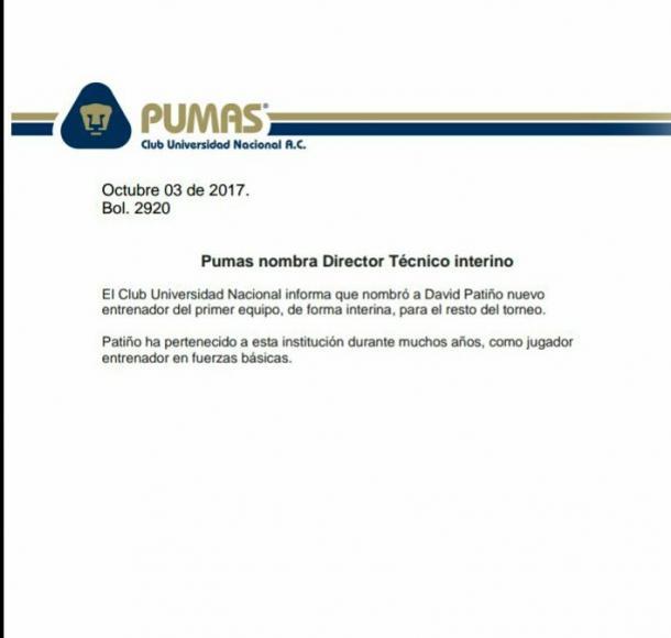 El comunicado oficial de la llegada de Patiño (Vía: Club Universidad)