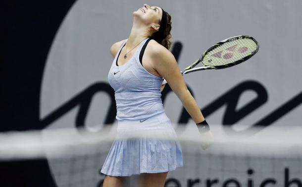 Belinda Bencic celebrates her hard-fought victory | Photo: Matthias Hauer / WTA Linz