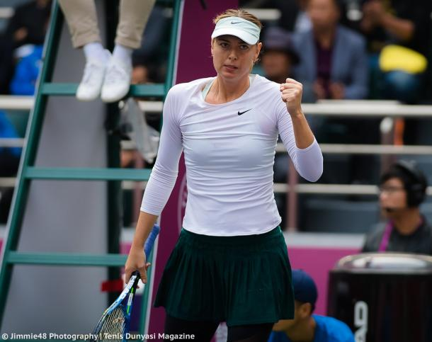 Maria Sharapova celebrates winning a point at the Tianjin Open | Photo: Jimmie48 Tennis Photography