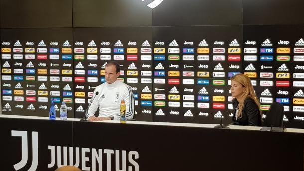 Allegri, en la rueda de prensa de este Viernes / Foto: @JuventusFC