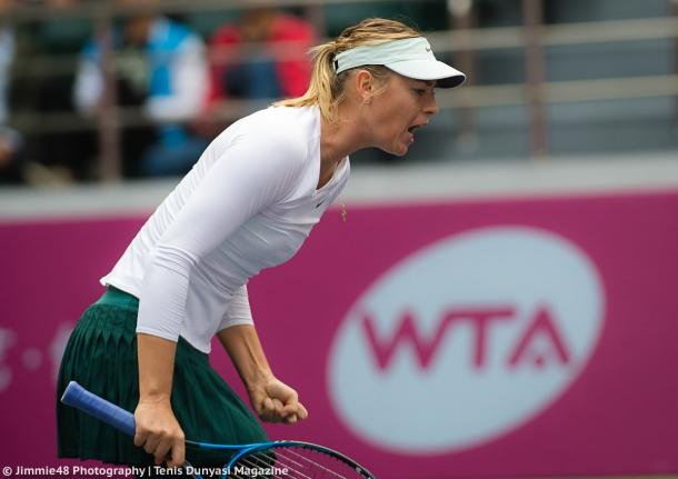 Maria Sharapova cheers herself on during the encounter | Photo: Jimmie48 Tennis Photography