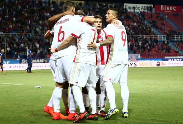 Una scena dall'ultima uscita dell'Olympiakos, in campionato contro il Panionios.   Fonte: twitter - @olympiacos_org