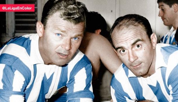 Alfredo Di Stefano y Ladislao Kubala, con la camiseta del Espanyol. Fuente: twitter.com
